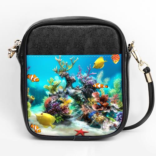 aquarium wallpaper girls sling bag