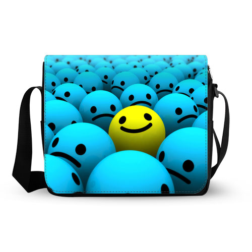 happy smiley face messenger bag