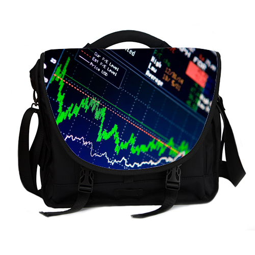 stock market chart laptop bag