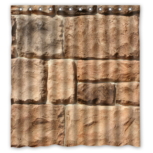 Brown Sand Stone Wall shower curtain L