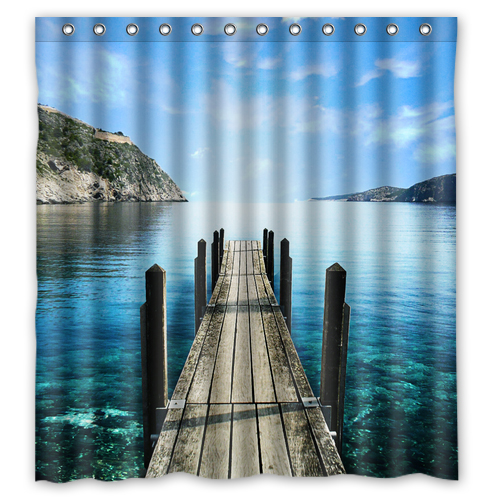 Mountain lake view shower curtain L
