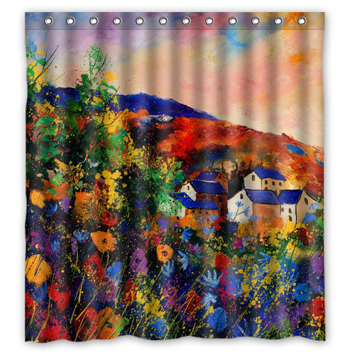 Summer Landscape Abstract acrylic shower curtain L