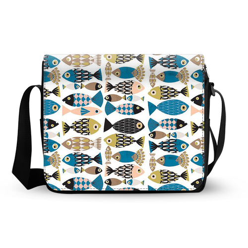 hipster fishes pattern messenger bag